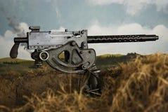 WWII Maschinengewehr in einem Graben, mit gemalter Landschaft Stockbilder