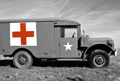 WWII Medic Jeep - Selective Coloring. WWII American Army Medic Jeep - selective color of red cross royalty free stock photo