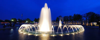 WWII memorial fountain panorama, Washington DC Royalty Free Stock Images