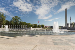 WWII Memorial with the Washington Monument. On the Mall in Washington, a fitting tribute to WWII veterans Stock Photos
