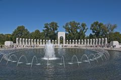 WWII Memorial: Wide-Angle View. Front-lit Royalty Free Stock Photo