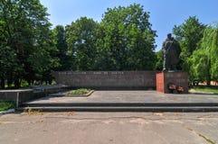 WWII-minnesmärke - Shargorod, Ukraina Arkivbilder