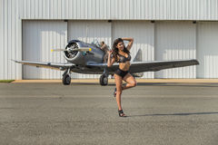WWII Model and Airplane Royalty Free Stock Photography