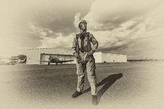 WWII Model and Airplane Royalty Free Stock Photo