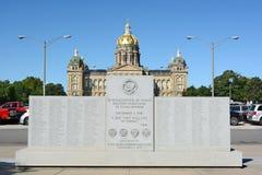 WWII-monument i Des Moines Iowa Royaltyfri Fotografi
