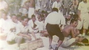 WWII Pacific – Prisoners are arrested by US soldiers stock footage