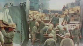 WWII Pacifik – US ships bring material to beach stock video footage