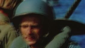 WWII Pacifik – Soldiers on board of landing boats drive to beach Iwo Jima stock footage