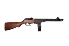 WWII period soviet submachine gun ppsh-41. Isolated on a white background Stock Photos