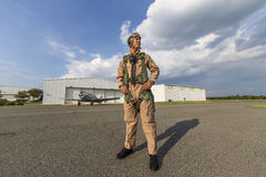 WWII Pilot and Airplane Stock Photography