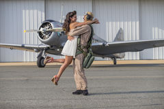 WWII Pilot, Model and Vintage Aircraft Royalty Free Stock Photography