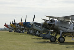 WWII planes at Duxford airshow. Nostalgic WWII airshow at Duxford showing plenty of spitfires, mustangs and B17's Stock Image