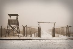WWII prisoner camp at Auschwitz in Poland Royalty Free Stock Photo