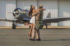 WWII samolot i model Zdjęcie Stock