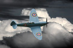 WWII Spitfire aircraft. RAF Spitfire PR Mk. XI WWII historic Battle of Britain aircraft in flight. BBMF royalty free stock image