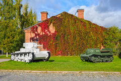 WWII tank and armored troop-carrier. Russian pre-WWII tank and armored troop-carrier in Artillery Museum of Finland, Hameenlinna Stock Photography