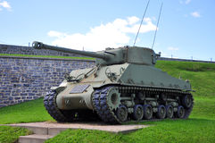 WWII Tank at La Citadelle in Quebec City, Canada. WWII M4 Sherman Tank at La Citadelle in Quebec City, Quebec, Canada. Historic District of Quebec City is UNESCO stock photos