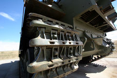 WWII tank track. Closeup of the caterpillar tread or track on an old WWII tank Stock Image