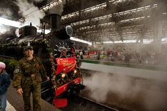 WWII train arrived at the Kazan railway station Stock Image