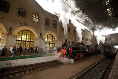 WWII train arrived at the Kazan railway station Stock Photos