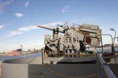 WWII U S Оружие охранника военно-морского флота установленное на корабле свободы Стоковое Изображение