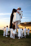 WWII Unconditional Surrender Statue, San Diego. The harbor in San Diego has one of the replicas of the famous Navy sailor and a nurse The Kiss sculpture Stock Photo