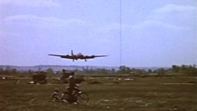 WWII US Air Force – A B17 aircraft lands stock footage