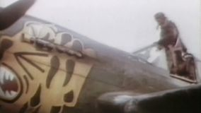 WWII US Air Force – Pilots enter aircraft. World War II Color. Pilots enter their aircraft for a start stock footage