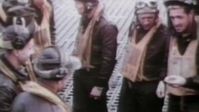 WWII US Air Force – Pilots stand at their aircrafts and talk stock footage