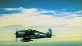WWII US Air Force – Aircrafts fly over Pazifik stock video
