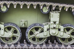 WWII US Army Tank Stuart Caterpillar Detail. Hotograph of  WWII US Army tank Stuart M3A1 caterpillar drive mechanism - Detail Royalty Free Stock Images