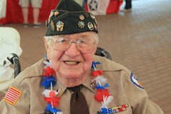 WWII vet in wheelchair, enjoying a day of honoring soldiers,Saratoga Racetrack,New York,2015 Stock Image