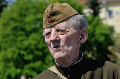 WWII veteran during a parade on victory Day on may 9 Stock Photos
