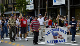 WWII Veterans March in Parade Royalty Free Stock Photography