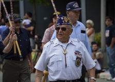 WWII Veterans March in Parade Royalty Free Stock Photos