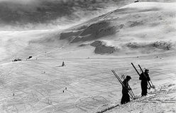 Before WWII, winter 1939 skiers on Monte Bondone, Italy Stock Photos
