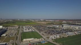 WWK arena - the official football stadium of FC Augsburg. Augsburg, Germany - April 20,2019: Aerial panorama of WWK arena - the official football stadium of FC stock video