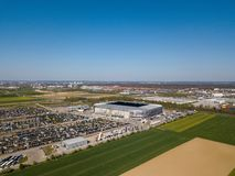 WWK arena - the official football stadium of FC Augsburg. Augsburg, Germany - April 20,2019: Aerial view of WWK arena - the official football stadium of FC stock photo