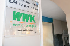WWK Bezirksdirektion. Sign infront of a local office of the german WWK insurance with copy space to the right royalty free stock photography