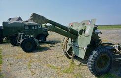 WWll在displayon阅兵场的车&火炮枪 E ?? 免版税库存照片