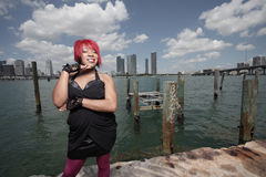 WWoman by the docks Stock Images
