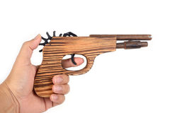 WWooden toy gun. Royalty Free Stock Image