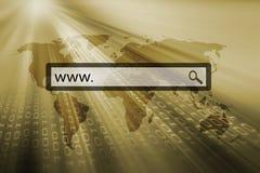 WWW. écrit dans la barre de recherche Photo stock