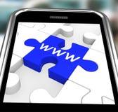WWW на Smartphone показывая интернет просматривая Стоковое фото RF