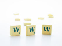 Www. Spelled out with scrabble letters Royalty Free Stock Photography