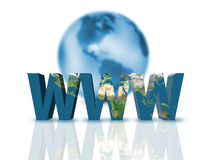 Www. Blue www and Earth on white Royalty Free Stock Image