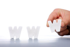 WWW. A picture of female hand creating a word www over white background Royalty Free Stock Images