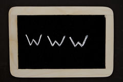Www. A chalkboard with the writing www as a symbol for the internet Stock Photos