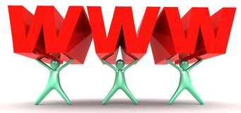 WWW in 3D. An illustration of cartoon illustration men carrying a huge WWW lettering Stock Photography