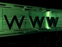 Www 3d. Word of -www , on by light, green background . It is done in the 3d program Royalty Free Stock Photos